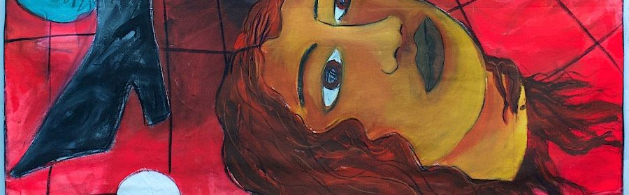 Andrea Fiorino, 2019, Perdere la testa, acrilico, gesso, fusaggine e pastelli su cotone grezzo, 168x138cm (LOW)